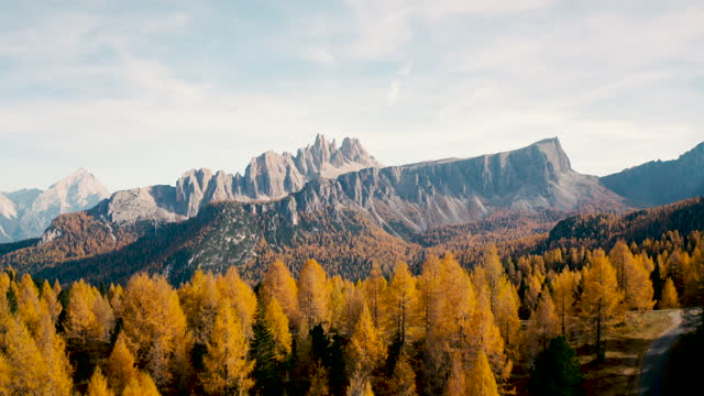 aerial view of  Italian Dolomites on autumn video