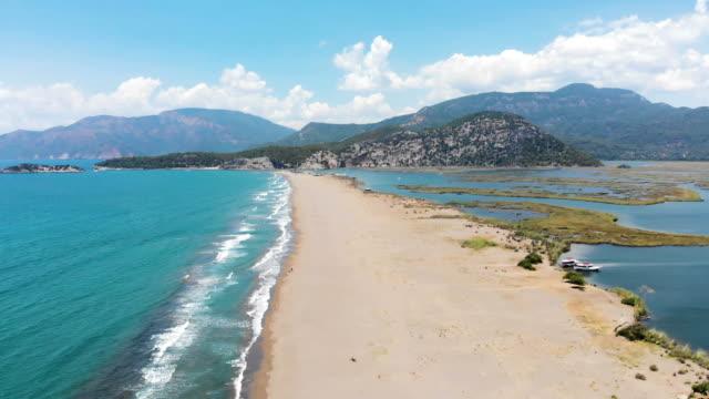 Aerial view of Iztuzu Beach in Turkey video