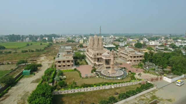 Aerial view of Jain temple in the suburbs of Delhi video