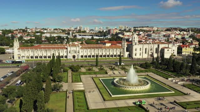 aerial view of jeronimos monastery in belem lisbon - lisbona video stock e b–roll