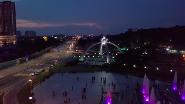 Aerial view of Johor Bahru city, Malaysia Night view of Istana Bukit Serene johor bahru stock videos & royalty-free footage