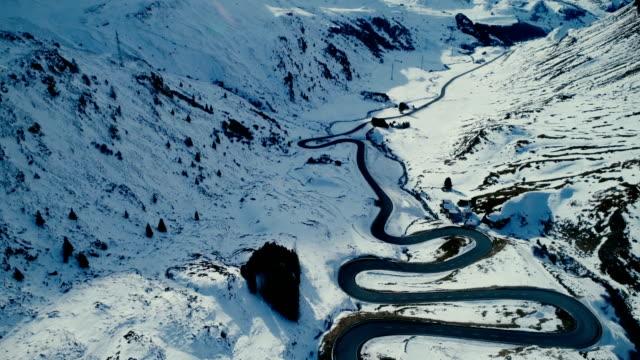 Aerial view of Julier pass in Switzerland video