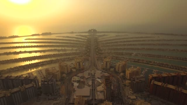 Aerial view of Jumeirah Palm Island In Dubai. Business luxury homes apartments. 4K United Arab Emirates dubai architecture stock videos & royalty-free footage