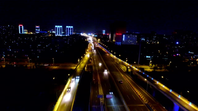 aerial view of junction at night shoot by drone video