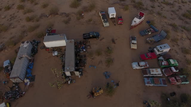 Aerial view of junk yard in Palm Springs
