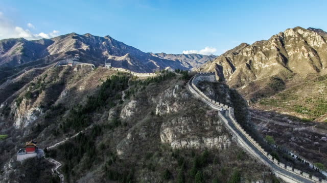 aerial view of juyongguan great wall, beijing, beijing - ming video stock e b–roll