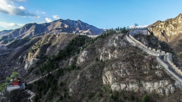 aerial view of juyongguan great wall, beijing, china - ming video stock e b–roll