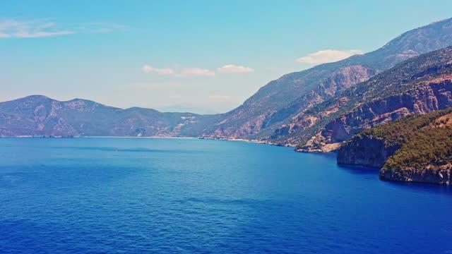 Aerial view of Kabak Inlet in Turkey Aerial view of Kabak Inlet in Turkey aegean sea stock videos & royalty-free footage