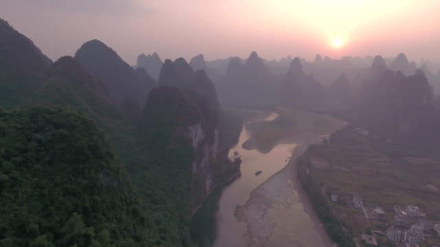 Aerial View of Karst Hills in Yangshuo County, Guilin video