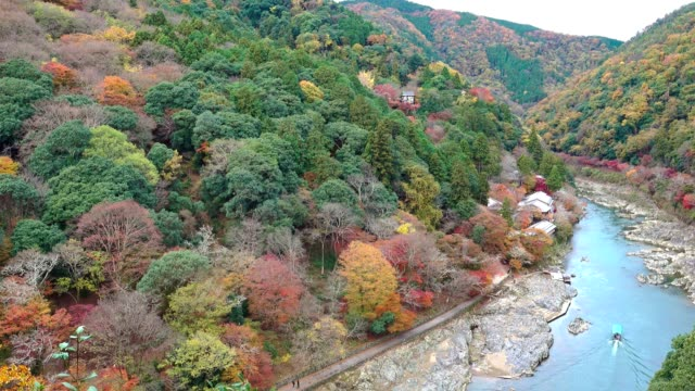 vídeos de stock e filmes b-roll de aerial view of katsura river in autumn season from arashiyama viewpoint, kyoto japan - cidade de quioto