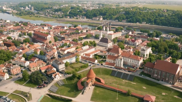 aerial view of kaunas downtown - lituania video stock e b–roll
