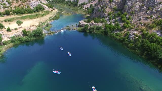 Aerial view of kayaking on the Zrmanja river, Croatia