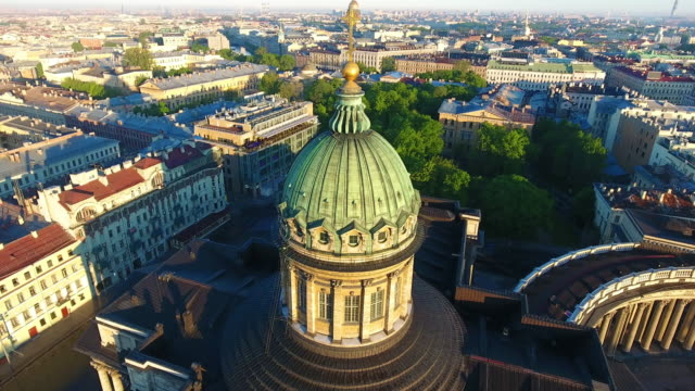 Aerial view of Kazansky cathedral in Saint-Petersburg Kazan Cathedral or Kazanskiy Kafedralniy Sobor, also known as the Cathedral of Our Lady of Kazan, is a cathedral of the Russian Orthodox Church on the Nevsky Prospekt in Saint Petersburg. treedeo saint petersburg stock videos & royalty-free footage