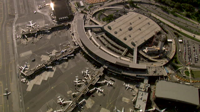 aerial view of kennedy airport, new york, usa - airports stock videos & royalty-free footage