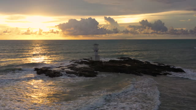 Aerial view of Khaolak lighthouse at sunset