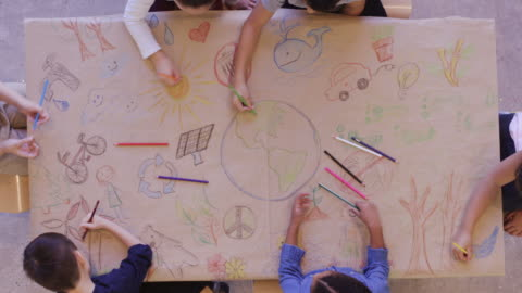 Aerial view of kids doing arts and crafts Aerial overhead view of a multi-ethnic group of elementary age children doing arts and crafts. The kids are seated around a large table that is covered by coloring and painting supplies. The creative kids are having fun and sharing. child stock videos & royalty-free footage