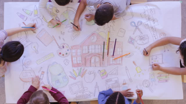Aerial view of kids doing arts and crafts