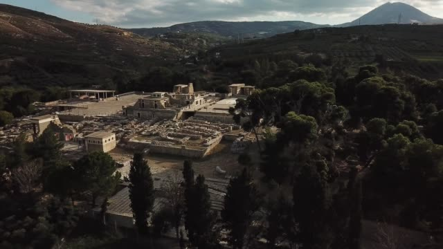Aerial view of Knossos palace video