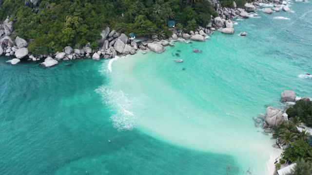 タイ、東南アジア、サムイ県タオ島のノナン・ユアン島の空中写真 - サムイ島点の映像素材/bロール