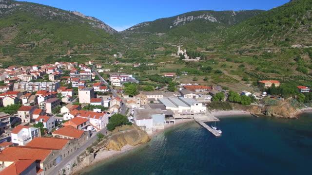 Aerial view of Komiza on Island of Vis, Croatia video