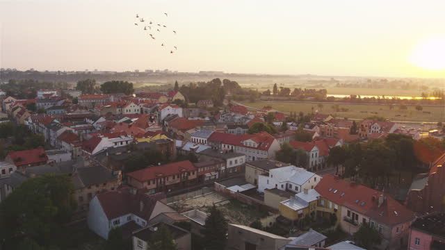 Aerial view of Konin cityscape at sunset. Old Town and historical buildings