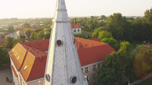 Aerial view of Konin cityscape. Old, historical buildings