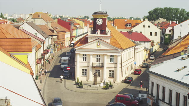 Aerial view of Konin cityscape. Old Town with Main Square view
