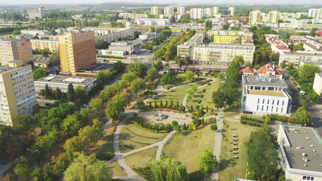 Aerial view of Konin cityscape. Residential district on summer day