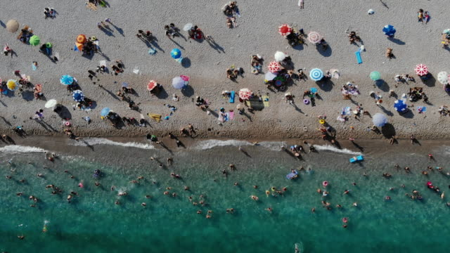 Aerial view of Konyaalti Beach with crowd