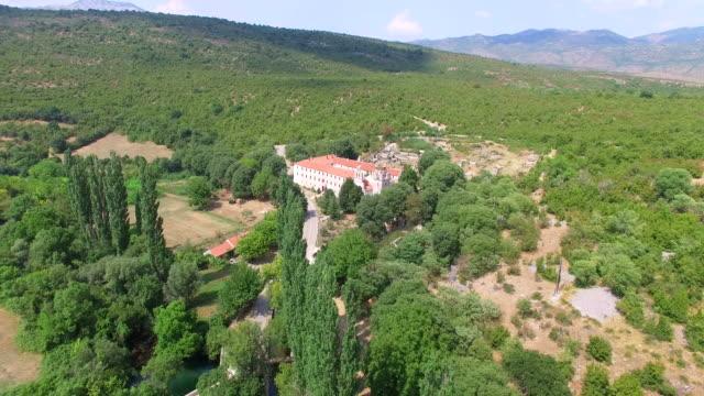 Aerial view of Krupa monastery, Croatia