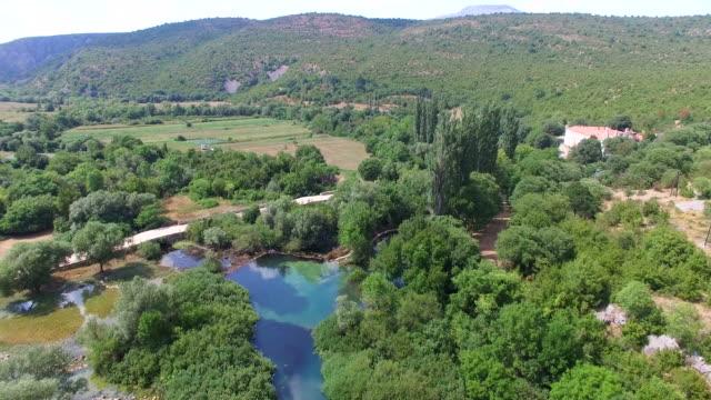 Aerial view of Krupa River next to the Krupa monastery, Croatia