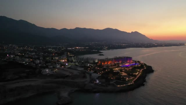 Aerial view of Kyrenia. Aerial view of Kyrenia coastline in Cyprus. greek islands stock videos & royalty-free footage