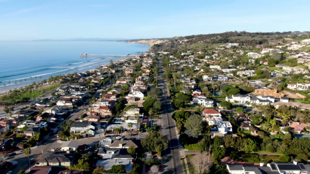 aerial view of la jolla little coastline city. california, usa - california video stock e b–roll