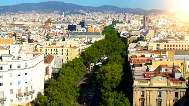 Aerial view of La Rambla, famous street in the center of Barcelona video