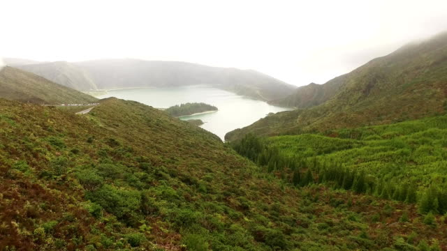 aerial view of Lagoa do Fogo, a volcanic lake in Sao Miguel, Azores Islands video