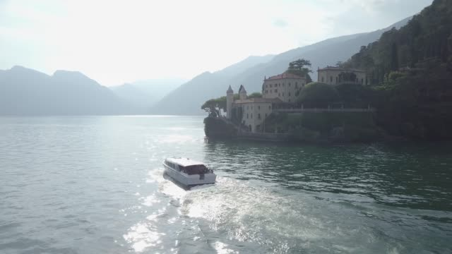 Aerial View of Lake Como, Villa Del Balbianello, Italy
