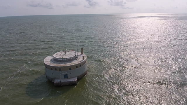 Aerial view of Lake Erie and City of Toledo Water Intake video