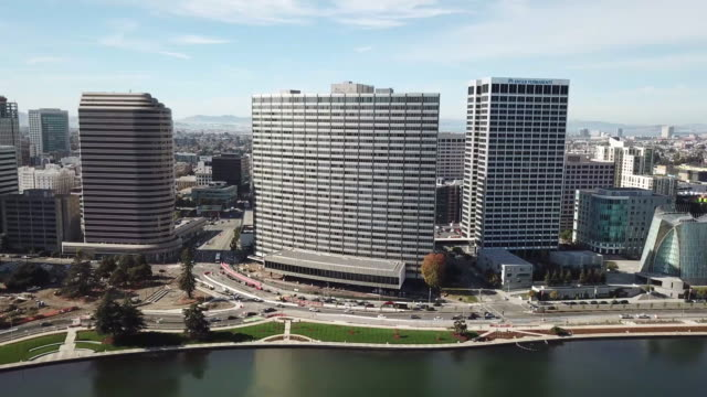Aerial view of Lake Merritt Waterfront An aerial view of Lake Merritt waterfront and the downtown Oakland skyline on a clear and sunny day. oakland stock videos & royalty-free footage