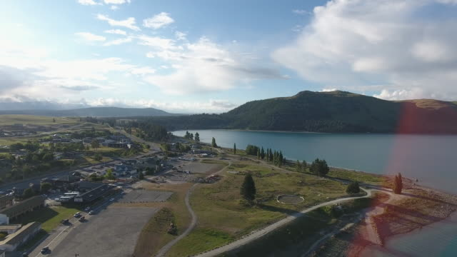 Aerial view of Lake Tekapo, New Zealand video