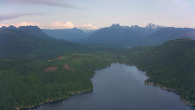 Aerial view of lake.