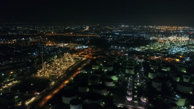 Aerial view of Land scape of Oil refinery plant at night video