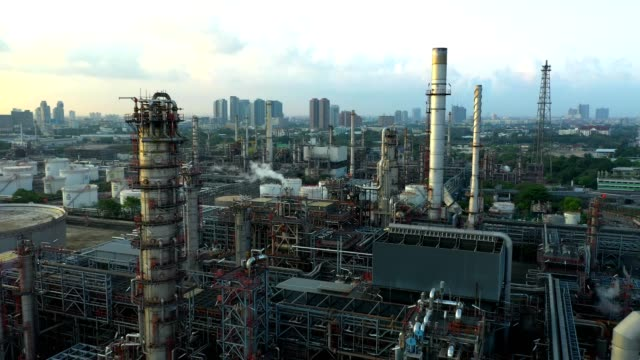 4K Aerial view of large oil refinery plant 4K Aerial view of large oil refinery plant, Bangkok Thailand, High angle view gas pipe stock videos & royalty-free footage