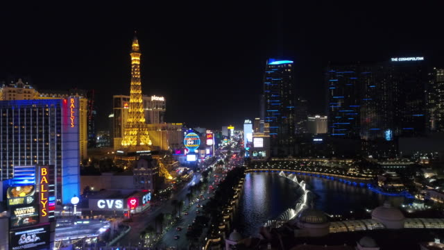 aerial view of las vegas at night - las vegas video stock e b–roll