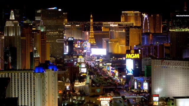 Aerial View of Las Vegas Strip at Night video
