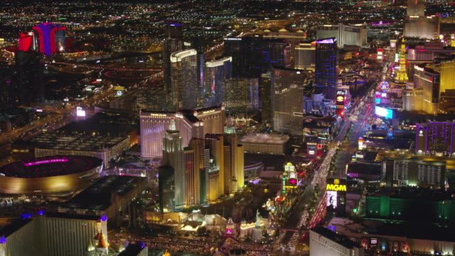 aerial view of las vegas strip at night. - las vegas video stock e b–roll