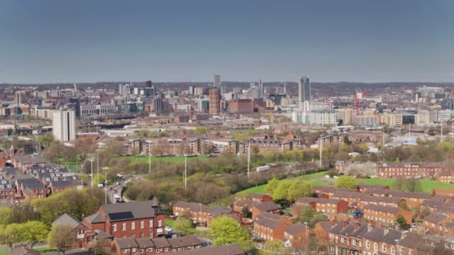 Aerial View of Leeds City Centre from Holbeck video