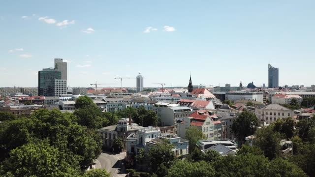Aerial view of Leipzig Skyline in Summer