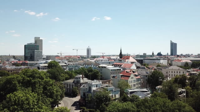 Aerial view of Leipzig Skyline in Summer video