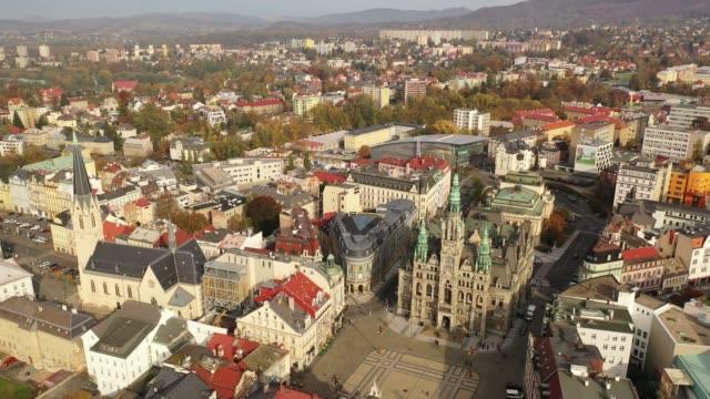 aerial view of liberec cityscape - polityka i rząd filmów i materiałów b-roll