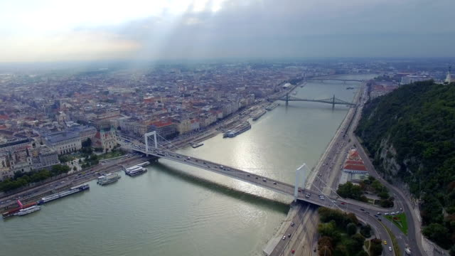 Aerial view of Liberty statue at Gellert hill in Budapest video